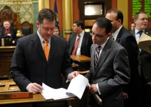 With Speaker Bolger on the floor of the Michigan House of Representatives