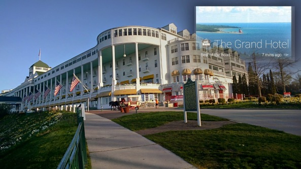 "A shot of the Grand Hotel on Mackinac Island, Michigan, which demonstrates Glass' ability to capture a spur-of-the moment picture with its wide-angle lens and great clarity, plus the ability to create a vignette with information about what is in the photo. I use that all the time to help document places where pictures are taken, as a sort of ""place stamp."""