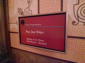 Speaker Bolger office sign