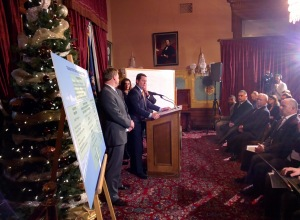 This was the last press conference I helped Speaker Bolger with. He was speaking about the roads deal reached between the legislative leaders and Gov. Snyder. The press conference was held in the Governor's Capitol Office Parlor. If you take the Capitol tour, there are times when this room is open for viewing.