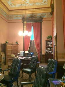 The Speaker's desk is at the end by the window; this is an angle shot while standing at the table in the previous photo.