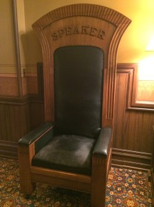 This is an old Speaker's chair - at one time it actually sat at the rostrum on the House floor but has since been replaced. Many of us have memories of sitting in this chair waiting to see Speaker Bolger; it seemed a fitting place to pass the time.