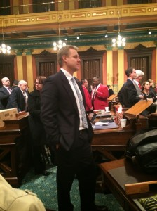 "Jessi took this picture, too, of Rep. Frank Foster, R-Petoskey. I don't know what he was watching or what he was thinking; since he lost his primary election and won't be returning, I can't even imagine it. In his farewell speech, Foster told the House that we need ""more politicians who are bad at politics."" He is absolutely correct, and will be sorely missed in the GOP Caucus next year."
