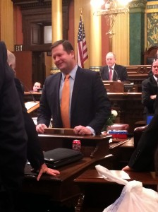 The Speaker's job is so intense and so stressful; people have no idea how much a legislative leader and his family must endure. I love this shot that Jessi took though, because it shows Jase Bolger sharing a laugh with a colleague on the floor. Often, no matter how stressful things had gotten, Jase would let others lighten the mood with a joke and then laugh right along with them. It helped us all relieve some stress.