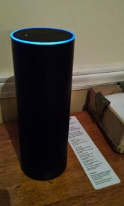 The Amazon Echo, currently residing on our kitchen table...